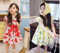 Wholesale 2014 Children Korean Style Ruffle Dressy Girls Fresh Apple Printed Short Sleeve Dresses Kids Big Bowknot Waist Belt Printing Dressy I1344