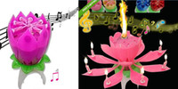 Wholesale Fashion Music candle Birthday Party Wedding Lotus Sparkling Flower Candles light Event Festive Supplies EMS free