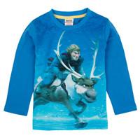 Wholesale European Children Clothes Frozen Kristoff Princess Elsa Anna Cartoon Pattern Pure Coloured Blue Round Collar Long Sleeve Tshirt J0318