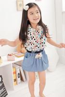 Wholesale Children Korean Style Chiffon Splicing Demin Dressy Little Girls Colorful Dots Printed Sleeveless Princess Dresses Kids Vest Dressy I1335