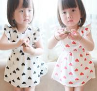 baby fresh designs - 2014 Summer New Korean Design Kid s Lovely Heart Shape Puff Sleeve Princess Dress Baby Girls Fresh Printed Dresses Children Dressy I1340