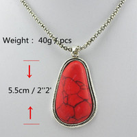 Wholesale Min order Vintage Tibet Antique Silver Turquoise Necklace water drop Red Jewelry Pendant nice gift N026