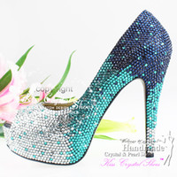 Party aqua wedding shoes - sapatos femininos peep toe teal wedding shoes handmade ladies fashion pumps aqua bridal shoes crystal rhinestone sapato peep toe