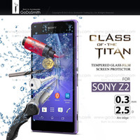 Wholesale 2 d arc mm clear front tempered glass protector film guard for Sony Xperia Z2 L50 with retail packing
