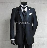 best photo images - Real Photo One Button Black Groom Tuxedos Peak Satin Lapel Best man Groomsman Men Wedding Suits Bridegroom Jacket Pants Tie Vest NO