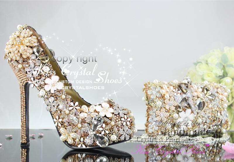 Gold Wedding Shoes New Handmade Luxury Gold Swarovski Crystal ...