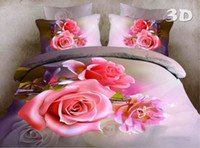 Cheap Free shipping Rose Flower oil painting doona duvet cover 3D bedding set,bedsheet Linens bedclothes,100% cotton bedding bedskirt Home Textile