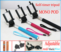 Wholesale Professional Self timer Mobile phone Monopods Extendable Ski Pole Handle Telescopic Monopod Phone Clip Top Quality with retail package
