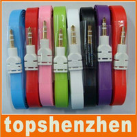 Wholesale 3 mm Flat Noodle Stereo Audio Cable AUX Cable flat noodles jack cable for For iphone ipod ipad mp3 mp4 phone