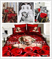 Cheap wholesale 2014 3D bedding wedding girls home textile sexy Marilyn Monroe leopard skin full queen super king duvet covers set 7pc