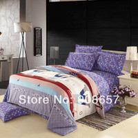 Cheap 2014 purple brand new printed cotton girls bedding set queen full size bed sheet linen discount doona duvet cover bedclothes 4pc