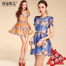 Wholesale Tang spring new European and American fashion female ginkgo biloba ultra cents stamp organza dress skirt dress