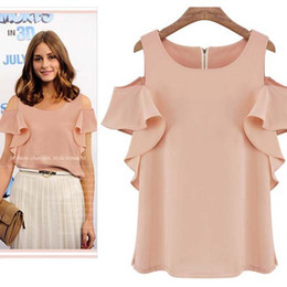 2014 New Fashion Summer Women Chiffon Blouses Off-shoulder Ruffled Sleeve Sexy Ladies Womens Tops And Blouse Casual Girls Blouses C14