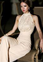 Wholesale New Korean style Women Jumpsuits High End Custom Sleeveless Neckline Pearl Lace jumpsuit Wide legged Slim Long Pants big promotion top GOOD
