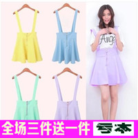 Wholesale 2014 new candy colored spring student summer waist harness dress pants female Korean Institute of wind strap dress