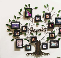 Wholesale Ou wrought iron furniture creative painting Solid wood frame combination wall metal tree photo wall Soft outfit photo wall