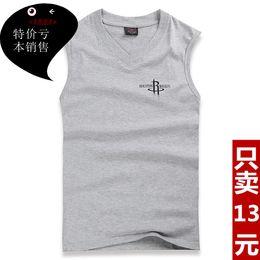 Wholesale Summer cotton V neck undershirt men loose loose shirt undershirt men s sports vest plus fertilizer XL