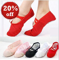 ballet shoes - 5 Color Womens Professional Soft Flats Peep Toes Ballet Dance Shoe Ladies Girls Belly Dancing Shoes