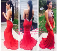 hot robe - 2014 Hot Sexy Sparkly Red robe de soiree Sequins Beading Mermaid Prom Dresses With Halter Neck Backless Women Evening Party Gowns JOV90640