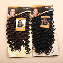 Wholesale 1PC quot Noble Gold Amy Curl Color1 B B Long Curly Synthetic Hair Extensions Fashion Afro Curly Hair Weave