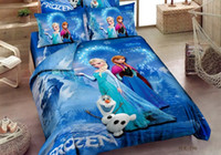 Wholesale New arrvial D cartoon bedding sets Princess Elsa amp Anna Olaf Frozen duvet quilt cover Queen Sister Love Cotton bed set