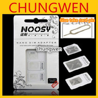 Wholesale In Noosy Nano Micro SIM Adapter Eject Pin For Iphone For Iphone S With SIM Card Retail Box High Quality Free Shiipping