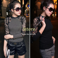 Cheap New Sexy S M L XL XXL 2014 HOT Sale Women Gray, Black Lace Blouses Splicing Long Sleeve Woman Tops Shirt SV000930 #001