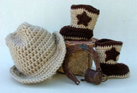 baby cowboy boots - Custom made Handmade Crochet baby cowboy hat and boots newborn cap snow booties suit Photography Props baby hat and booties