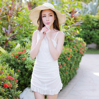 Cheap Free shipping new 2014 summer Swimwear high quality exquisite fabric one-piece dress knitted net swimsuit no44