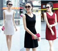 Wholesale 13 Colors Option Women s Mercerized Cotton Milk Silk Casual Dress Sleeveless V Neck Collar Tank Top Lady s Slim Dresses SZ S XXXL