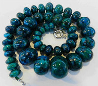 South American azurite necklace - 10 mm Azurite Chrysocolla Gemstone Abacus Beads Necklace inch