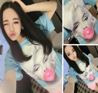 Cheap 2014 Fashion New T shirts Women Men punk t shirt Sexy Monroe Bubblegum Print 3D T-shirts galaxy clothing tops