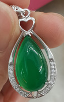 Cheap Wholesale jewelry pure 925 Silver Chalcedony pendant Charms Chrysoprase Chinese name is Yusui Just like a beauty Lady's fashion