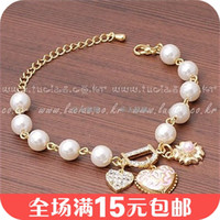 Cheap free shinppingKorean jewelry lady style diamond hearts bracelet pearl flower pendant letter D special female shipping