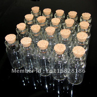 Cheap Wholesale Lots Of 20 Pcs 16x35mm Tiny Small Clear Cork Glass Bottles Vials 2ml For Wedding Holiday Decoration Christmas Gifts