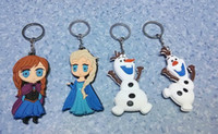 Wholesale 2014 newest children gift cartoon accessories Frozen keyrings Elsa Anna Olaf rubber keychains children key chains