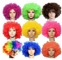 Wholesale 2014 Brazil World Cup Fans WIG HEAD Explosion Exaggerated Fashion Wig Adult And Childrens Party Entertainment T004