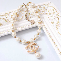 Wholesale Adjustable luxury big pearl dog necklace pendant small dog jewelry sparkly pet accessories