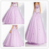 Wholesale 2014 Prom Dresses Beaded Satin Bodice on a Tulle Ball Gown Skirt Corset Tie Back Ball Gown Floor Length