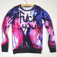 Cheap Fashion New 2014 Women Men Fuck you Letter Space Print Pullovers funny sweatshirts 3d s Hoodies tops