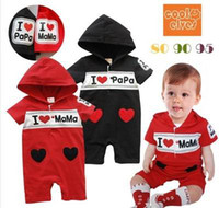 Boy baby mama clothes - Baby onesies With Cap Summer I Love Papa I Love Mama Love Heart Romper Toddler Clothing