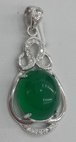 Cheap Wholesale jewelry pure 925 Silver Chalcedony pendant Called Yusui in Chinese Just like a beauty ladies fashion