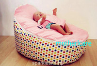 Wholesale 2 Top covers NEW Baby Toddler Kids Portable Bean Bag Seat baby beanbag chair berry dots pink