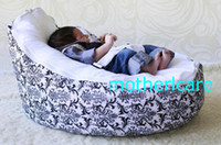 Wholesale 2 Top covers NEW Baby Toddler Kids Portable Bean Bag Seat baby beanbag chair black damask white top