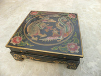 wood dragon - China Painting Wood Dragon Phoenix Design Coffee Table Black and Red