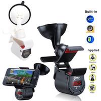Wholesale 360 Degree Rotary Universal Car Phone Holder Audio Amplifier Speaker FM Transmitter Black White