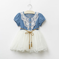 Cheap Baby Girls Denim TUTU Dresses Summer Children Short Sleeve Flower Lace Blet Cowboy Net Yarn Casual Dress Kids Clothing