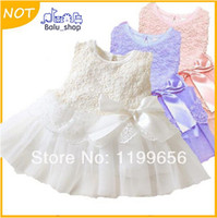 TuTu Summer A-Line Wholesale - New 2014 girls dresses children clothing cotton ball gown dress kids bow lace princess clothes Pink high quality