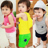Cheap Wholesale - 2014 Summer Baby Girls Boys Clothing Children Hooded Sleeveless T shirt Hoody and Shorts 2 Pieces Suits