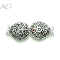 Wholesale XD KM379 KM380 Filigree sterling silver antique fish charms spacer beads with zircon stone jewelry diy findings